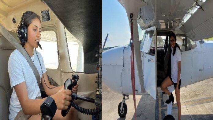 नांदेडच्या शिरपेचात मानाचा तुरा, कोंढ्याच्या 14 वर्षीय लेकीची गगनभरारी, अमेरिकेत विमान उडवलं!   14 year old Girl from Kondhapur naned flew a plane America